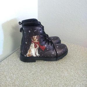 Winter Christmas Dog Print Unisex Combat Boots